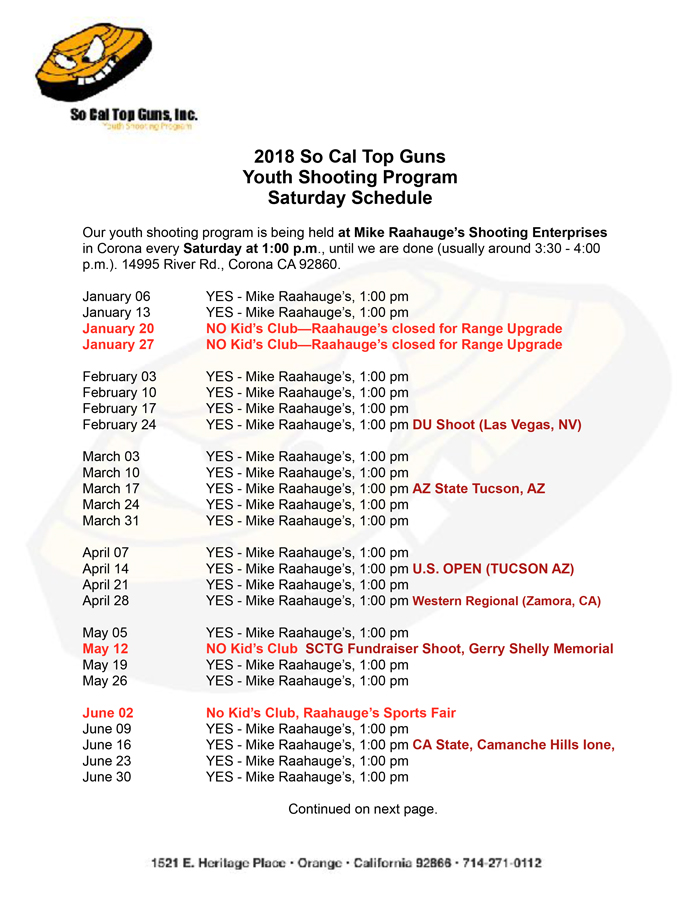 So Cal Top Guns Shoot Schedule